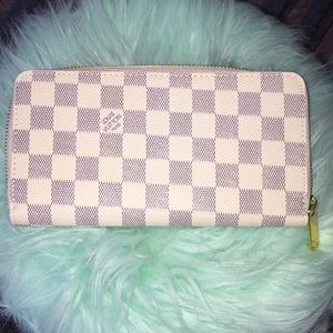 White and Gray Checkered Print Wallets